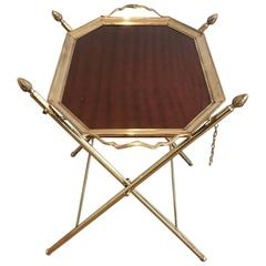 Rare Brass and Mahogany Tray Table Attributed to Maison Bagués