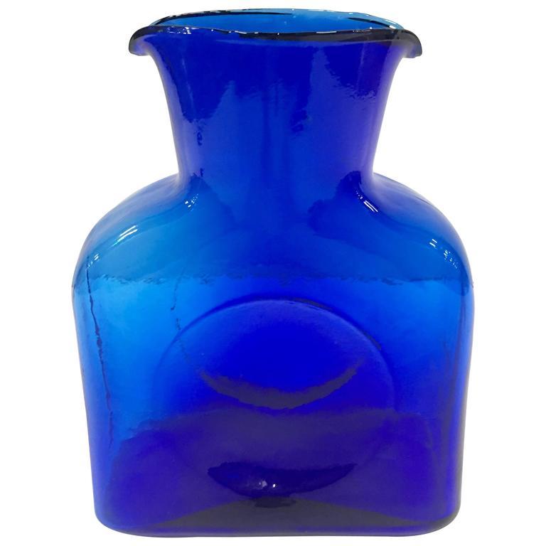 Mid-Century Modern Blenko Glass Cobalt Double Spout Pitcher