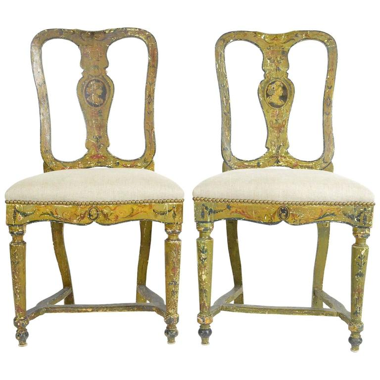 Pair of Venetian Painted Side Chairs