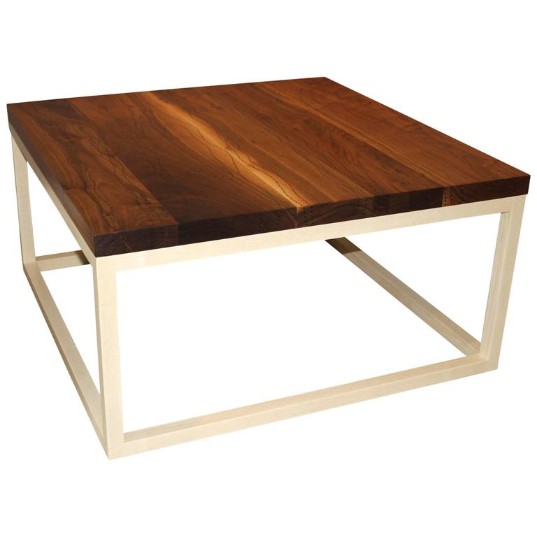 Peter sandback modernist low square table in bleached walnut and ash at 1stdibs Low coffee table square