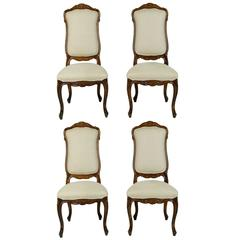Set of Four Louis XVI Style Fruitwood High Back Side Chairs