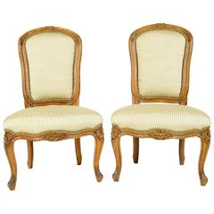Pair of Louis XV Style Fruitwood Slipper Chairs