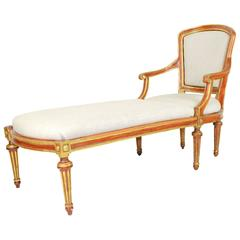 French Directoire Style Painted and Parcel Gilt Chaise Lounge