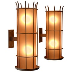 Pair of Art Deco Brass and Yellow Glass Wall Lamps, Sweden, 1930s-1940s