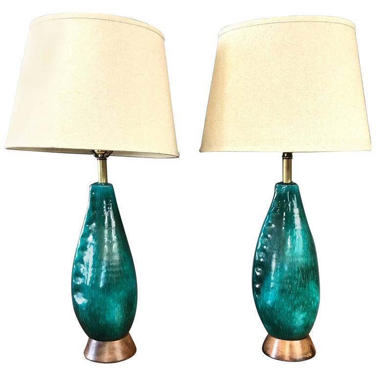 Pair of Marcello Fantoni Turquoise Ceramic Table Lamps For Sale