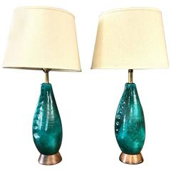 Pair of Marcello Fantoni Turquoise Ceramic Table Lamps