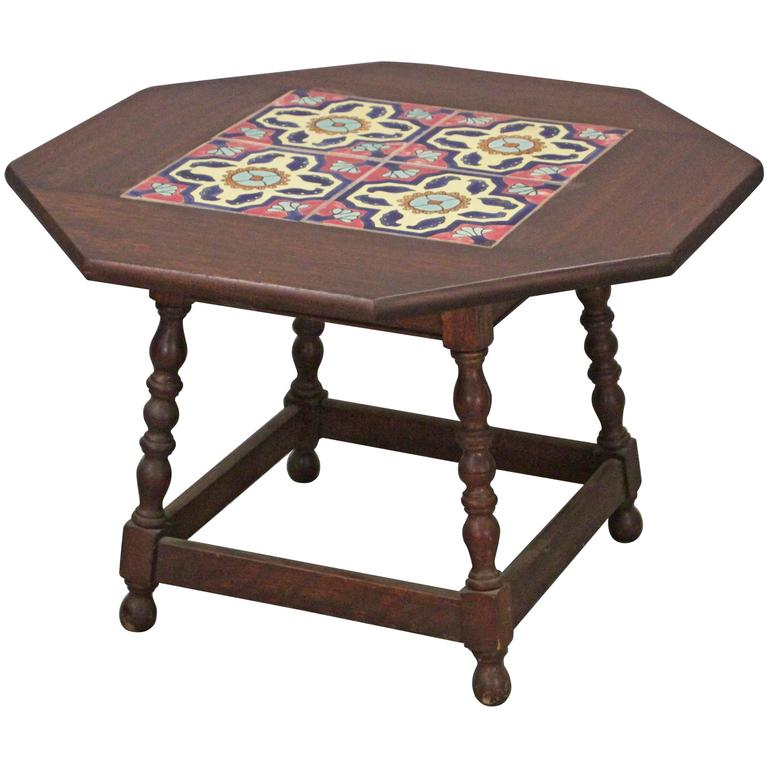 1920s Side Table with California Tiles