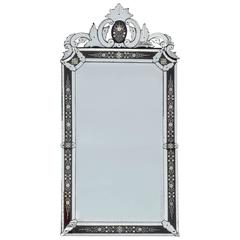 Venitian Mirror Napoleon III Has Front Wall with Colored Red Frame, 1880-1900