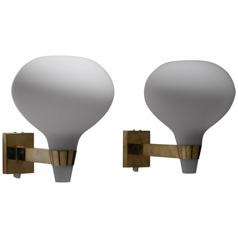 Lisa-Johansson Pape Brass and Opaline Glass Wall Lamps, Finland, 1950s For Sale