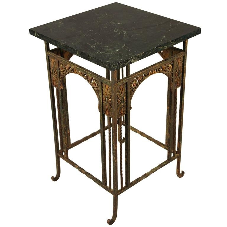 1920s Spanish Revival Iron Polychrome Side Table with Marble Top