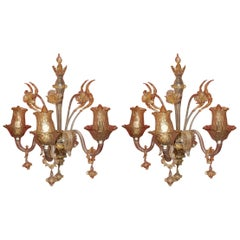 Pair of Sconces of Light, Crystal of Murano with Gold Inside, 1950-1970