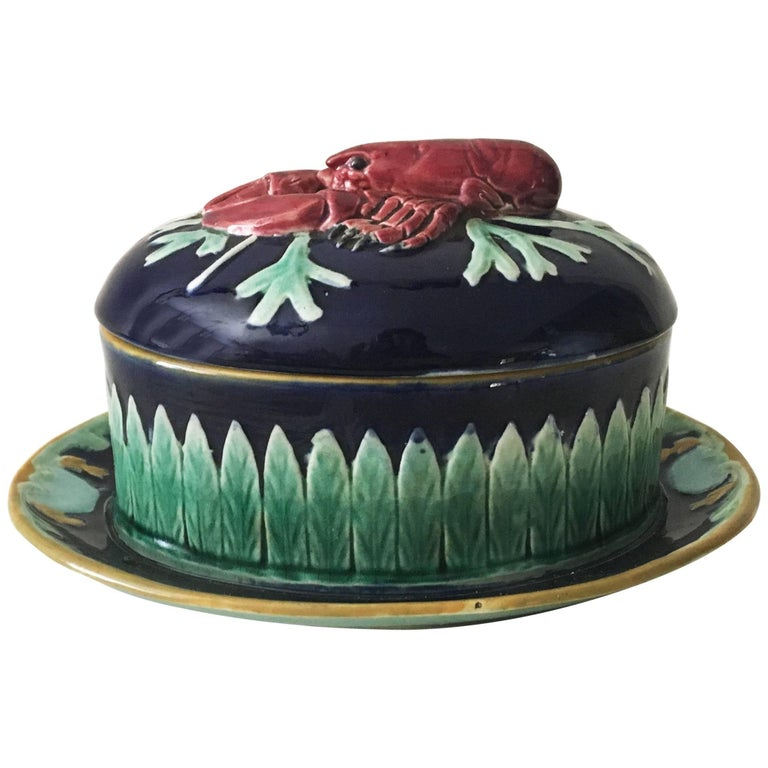 19th English Majolica Lobster Tureen, Joseph Holdcroft For Sale