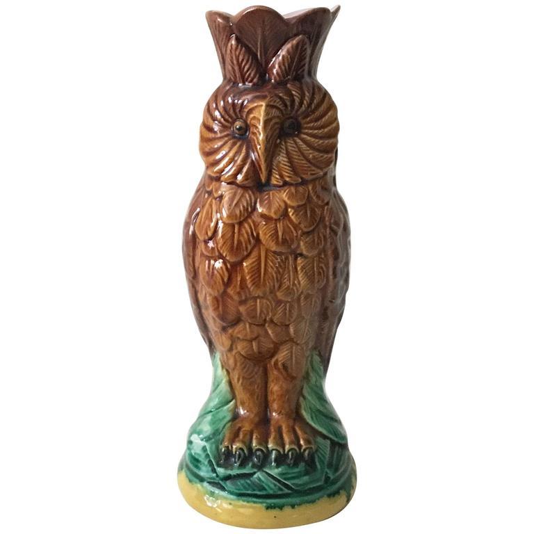 19th Century English Majolica Owl Vase