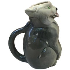 Majolica White and Grey Cat Pitcher Signed Esdeve Sarreguemines