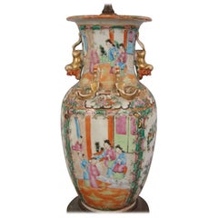 Chinese Export Rose Medallion Vase Now Electified