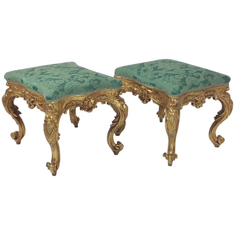 Fine Pair of French Carved Giltwood Stools