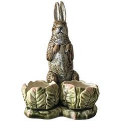 Majolica Condiment Stand Rabbit Set, circa 1900