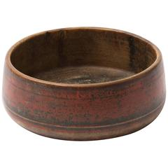 Antique Asian Red Lacquered Wood Bowl
