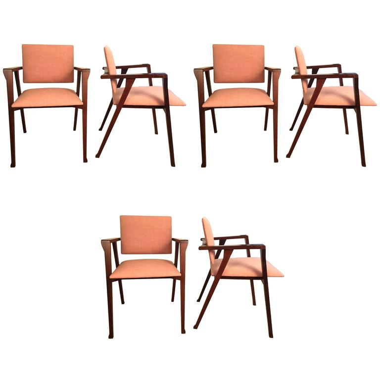 "Set of Six Rosewood ""Luisa"" Chairs by Franco Albini for Poggi"