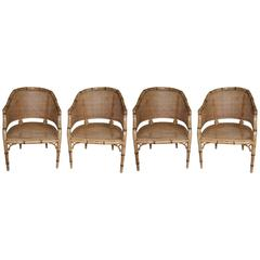 Set of Four Vintage French Faux Bamboo Wood Chairs
