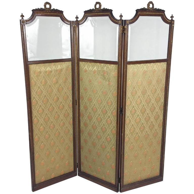 French Folding Screens : Th century french carved walnut and gilt three fold