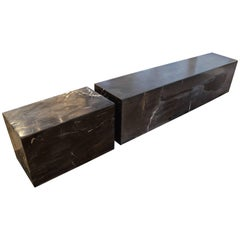 Andrianna Shamaris Petrified Wood Log Bench