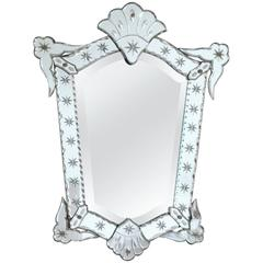 French Deco Venetian Style Mirror, circa 1940s, Beveling and Star Etching