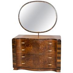 Walnut Art Deco Dresser or Chest with Mirror
