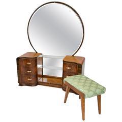 Walnut Art Deco Dressing Table / Vanity with Mirror
