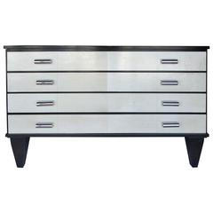 Art Deco Goatskin and Ebonized Mahogany Four-Drawer Dresser