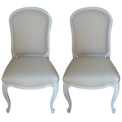 Pair of Louis XV Style Painted Side Chairs