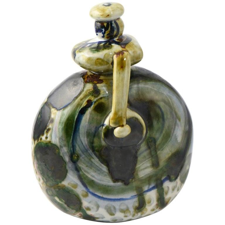 Folk Art Signed Ceramic Woman Figurine For Sale