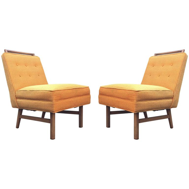 Adorable Pair Of MOD Harvey Probber Slipper Chairs With Wood Handle Pulls  For Sale