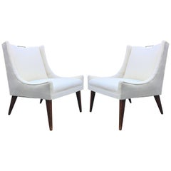 Pair of Swank Vintage Lounge Chairs with Brass Handle Pulls