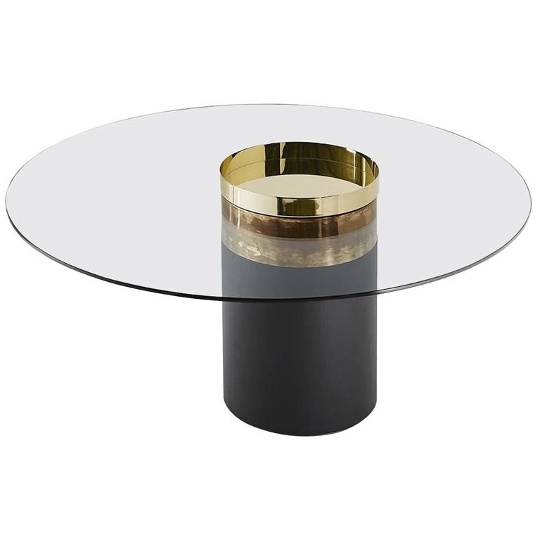 Dining or Lounge Table in Glass, Burnished Brass, Copper and Rust
