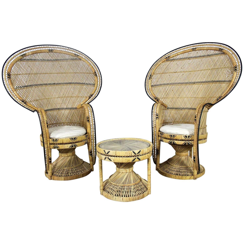 Vintage Bohemian 1970s Wicker Emmanuel Peacock Chair For