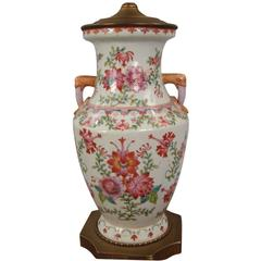 Chinese Export Famille Rose Vase Now Electrified