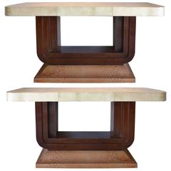 Art Deco Goatskin and Ostrich Skin Clad Console Tables, Pair