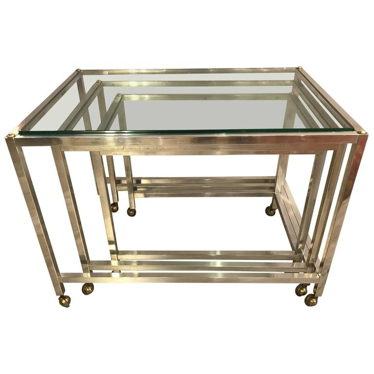 Set of Three Polished Aluminium and Glass Nesting Tables