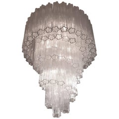 1960s , Early Venini ' Tronchi '  Massive Waterfall Chandelier ,  Italia