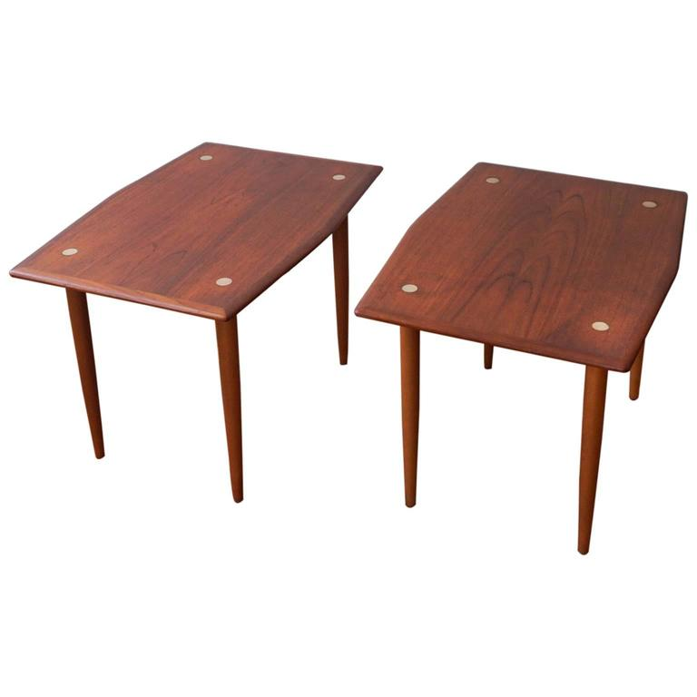 Pair Of Scandinavian Teak Side Tables With Brass Elements By DUX 1