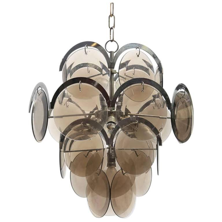 Vistosi Four-Tier Chrome and Smoke Glass Disc Chandelier, Italy, 1970s