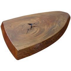 1950s Japanese Carved Slab Low Table or Pedestal