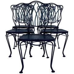 1950s Set of Five Wrought Iron Mesh Chairs & Cushions by Woodard
