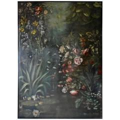 Large Late 19th Century Painting with Flowers, pound and nenuphars.