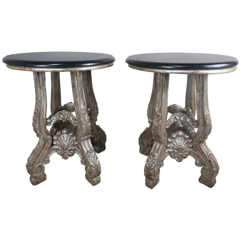 French Silver Leaf Side Tables with Black Granite Tops, Pair