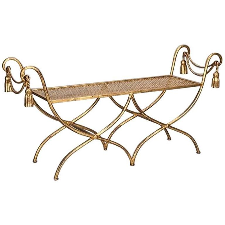 Hollywood Regency Italian Gilt Iron Tassel and Rope Bench
