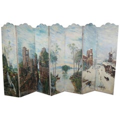 19th Century Italian Seven-Panel Hand-Painted Screen