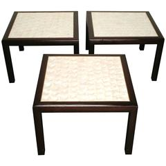 Mid-Century Shell Top Occasional Side Table set of 3