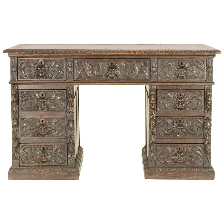 Antique Scottish Victorian Heavily Carved Oak Desk, Double Pedestal Desk For Sale
